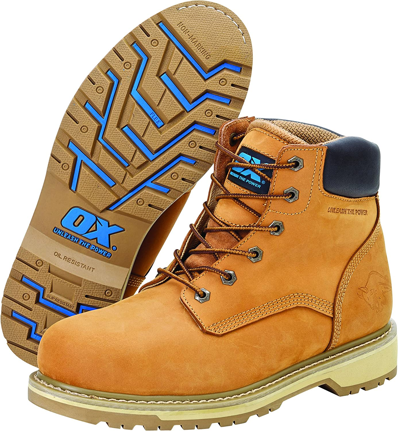 OX Safety Boots - Industrial Grade Pro Series Safety Boots with Steel Toe Cap - Tan - Size 10