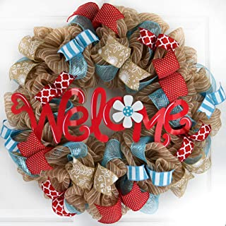 Summer Welcome Wreath | Jute Burlap Spring Wreath | Wedding Gift | Red Turquoise Teal White