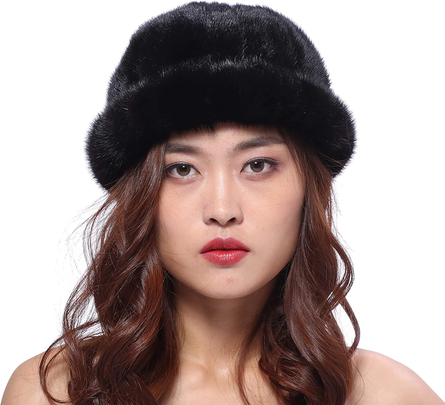 BeFur Beanie Hat Real Mink Fur Otter Soft Warm Winter Fashion and Classic