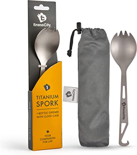 Titanium Spork (Spoon Fork) with Bottle Opener Extra Strong Ultra Lightweight (Ti), Healthy & Eco-Friendly Spoon, For...