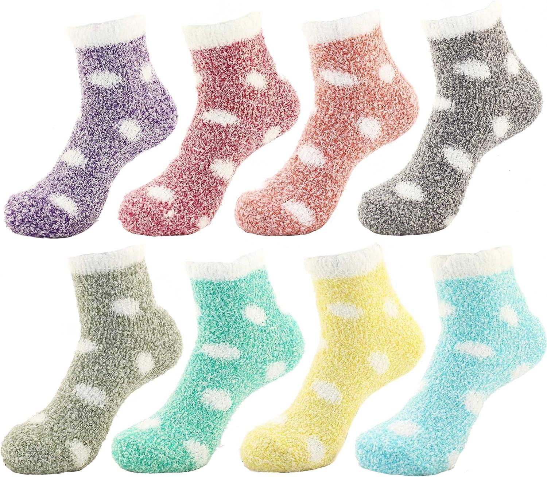 Women's Extra Large Fuzzy Polka Dot Cuff Anti-Slip Grip Non-Slip Socks