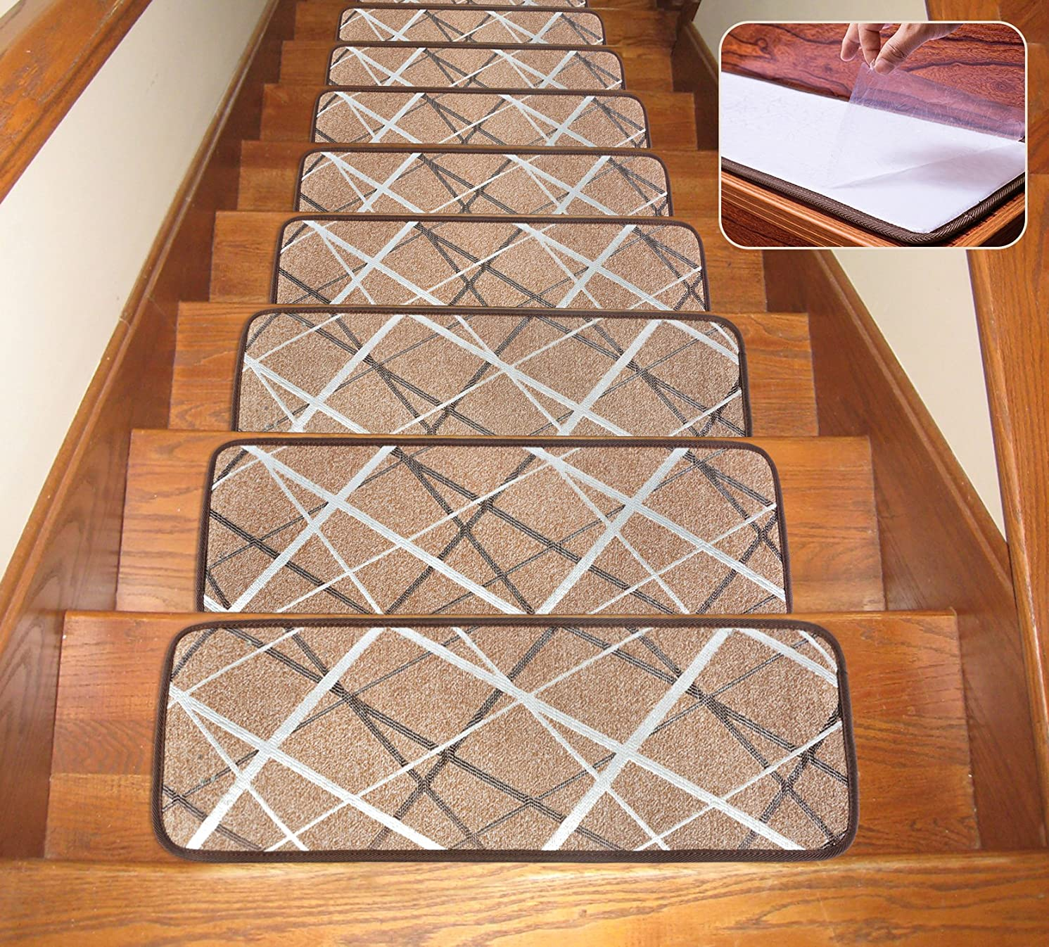 Seloom Non-Slip Washable Stair Treads Carpet with Skid Resistant Rubber Backing Specialized for Indoor Wooden Steps, Brown