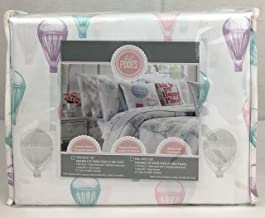 Lil' Pixies Easy Care Polyester Gondola Hot Air Balloon Paris Girl's FULL Sheet Set Purple Pink Aqua Grey White