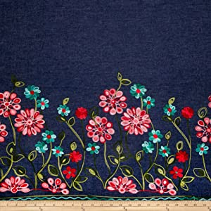 TELIO Denim Embroidered Single Border Floral Red/Turquoise/Pink Fabric by The Yard