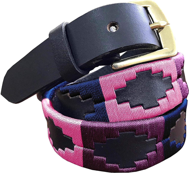 CARLOS DIAZ Boys Girls Kids Childrens Premium Unisex Brown Leather Embroidered Designer Polo Belt