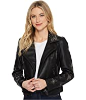 Blank NYC - Beaded Vegan Leather Cropped Jacket in Star Struck