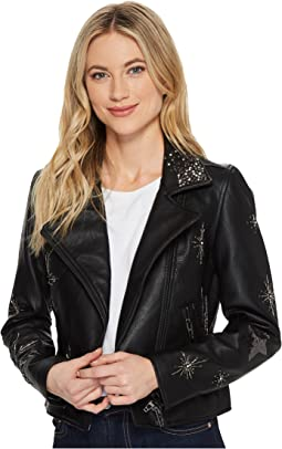 Beaded Vegan Leather Cropped Jacket in Star Struck