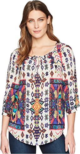 Printed 3/4 Sleeve Blouse with Beading