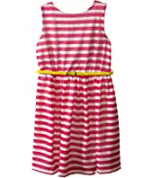 Us Angels - Scuba & Mesh Sleeveless Bow Back Dress w/ Belt & Full Skirt (Big Kids)