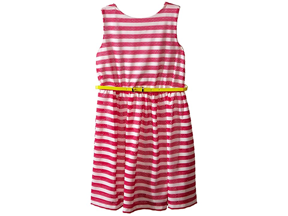 Us Angels Scuba Mesh Sleeveless Bow Back Dress w/ Belt Full Skirt (Big Kids) (Fuchsia) Girl