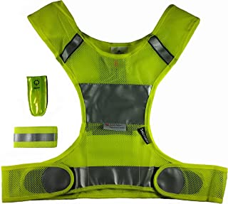 Yellow Reflective Safety Vest (for Running or Cycling) with 3M Scotchlite Reflective Material - Plus LED Reflector and Armband