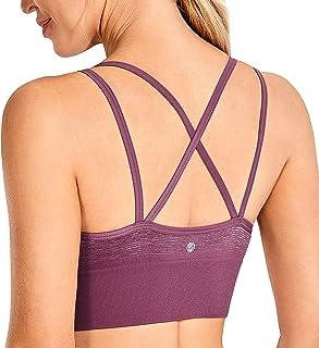 CRZ YOGA Women's Strappy Sexy Longline Sports Bra Padded Wirefree Yoga Bras Crop Tank Tops