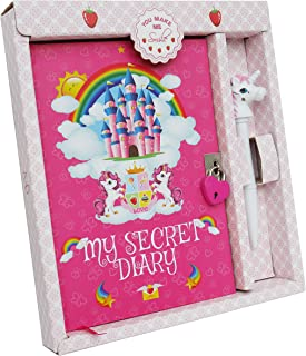 Monet Studios Children's Kid's Secret Diary Journal Notebook Stationery Pen Set with Lock and Key Unicorn Theme - for Girls Age 5 6 7 8 9 10 Years Old (Unicorn)