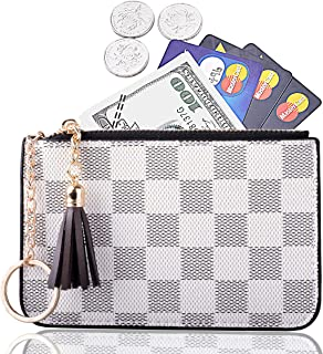 Women Coin Purse Leather Change Credit Card Holder Wallet with Key Chain Tassel Zip