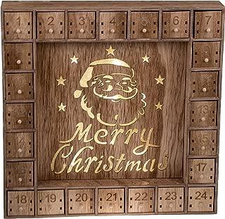 Santa Claus 24 Day Advent Calendar | LED Lit Merry Christmas Decor Theme | Premium Holiday Decor Wooden Construction | Light Natural Wood Color | Measures 13.75