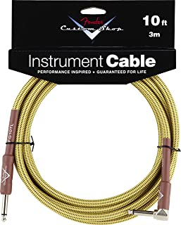 Fender Custom Shop Performance Series Cable (Straight-Right Angle) for electric guitar, bass guitar, electric mandolin, pro audio