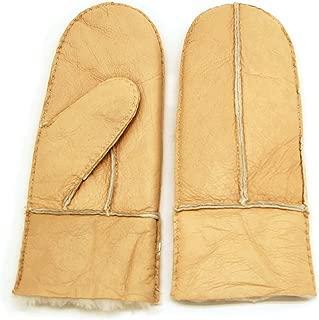 Women's Winter Merino Sheepskin Shearling Leather Mitten Back Strap