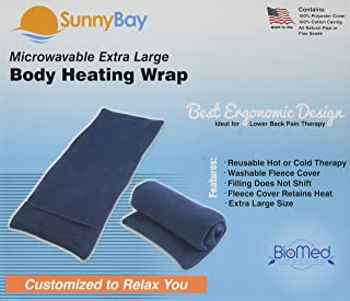 Sunny Bay Rice Filled Body Heating Wrap with a Washable Navy Blue Fleece Cover, X-Large, 3.8 Pound