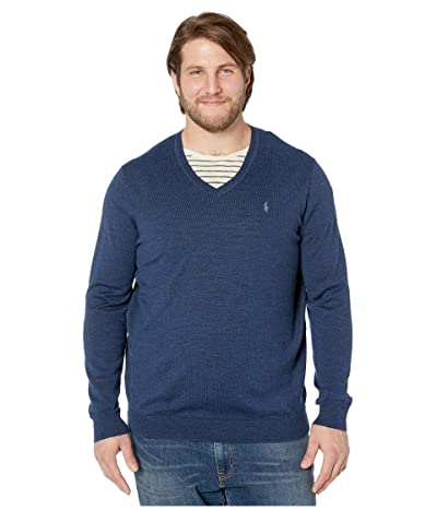 Polo Ralph Lauren Big & Tall Washable Merino Wool V-Neck Sweater (Federal Blue Heather) Men