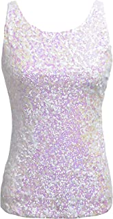 Women's Shimmer Glam Sequin Embellished Sparkle Tank Top Vest Tops