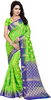 INDIAN BEAUTIFUL Women's Ethnic WEAR BANARSI Silk Parrot Colour Saree with Blouse Piece