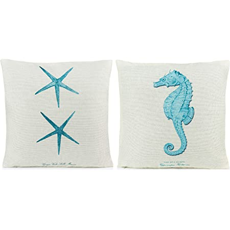 Amazon Com Beach Pillows Decorative Throw Pillows Coastal Throw Pillows Covers 2 Pack 18 X 18 Inch Beach Theme Couch Pillow Covers With Starfish Seahorse Home Kitchen
