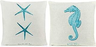 Beach Pillows Decorative Throw Pillows |Coastal Throw Pillows Covers 2 Pack 18 x 18 Inch| Beach Theme Couch Pillow Covers with Starfish & Seahorse