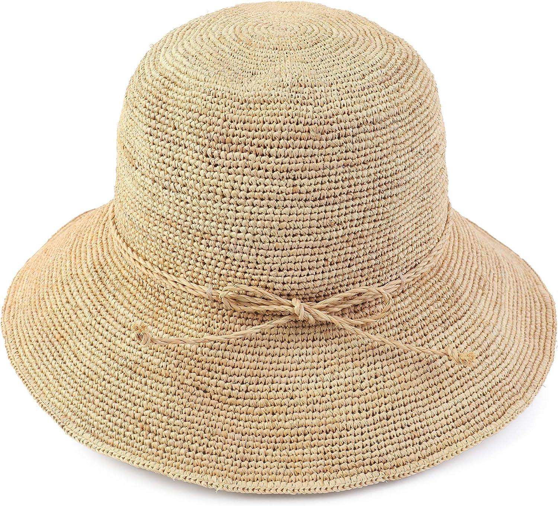 Melesh Women's Bucket Hats Fashion Womens Summer Beach Sun Straw Hat