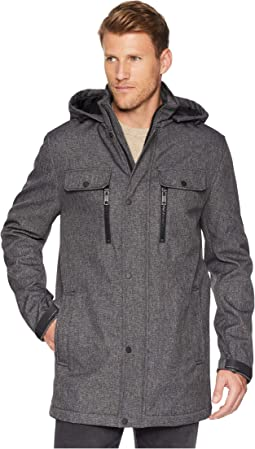 Melange Tech Mid Length Hooded Jacket