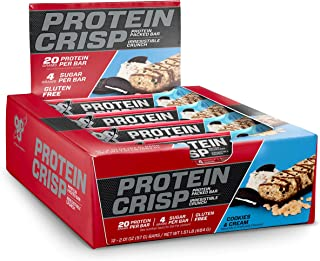 BSN Protein Crisp Bar by Syntha-6, Low Sugar Whey Protein Bar, 20g of Protein, Cookies & Cream, 12 Count per Pack, 24.12 Ounce