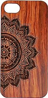 JuBeCo2016 New Pattern iPhone SE Wooden Case, Genuine Bamboo Wood Case for iPhone 5/5S (Mandala Rosewood)