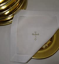 Integrity Designs White Linen Altar Cloth Silver Cross Embroidery