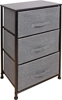 East Loft Nightstand Dresser |Storage Organizer for Closet, Nursery, Bathroom, Laundry or Bedroom | 3 Fabric Drawers, Solid Wood Top, Durable Steel Frame| Charcoal