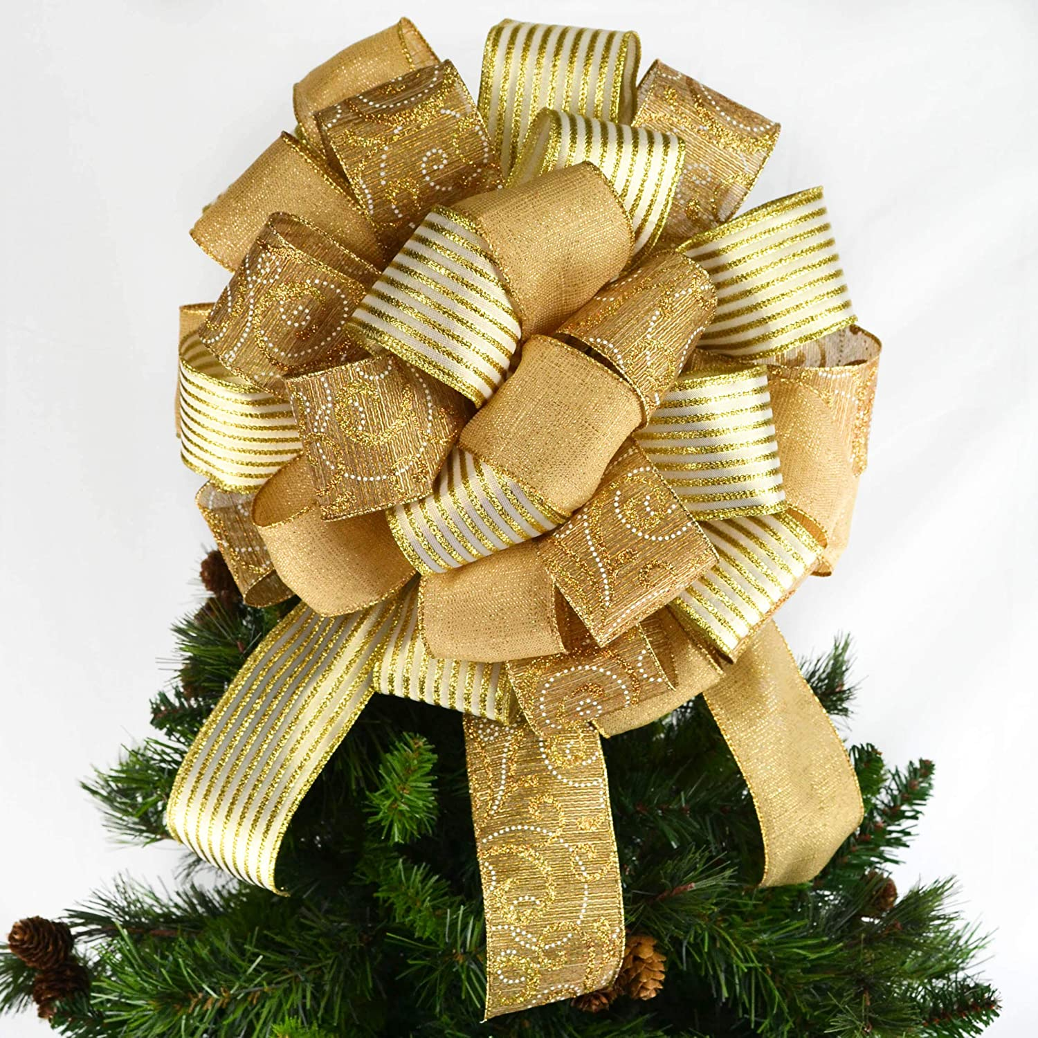 Solid Gold Tree Topper Bows Present Christmas Big Max 70% OFF Nippon regular agency Bow B