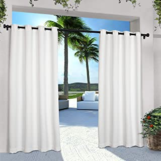Exclusive Home Curtains Indoor/Outdoor Solid Cabana Grommet Top Curtain Panel Pair, 54x108, Winter White, 2 Piece