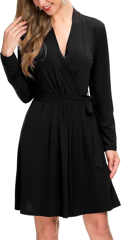 Le Vonfort Women's Vintage V Neck A Line Solid color Office Long Sleeve Faux Wrap Dress with Belt Black Large