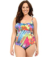La Blanca - Plus Size Feathering Colors Over the Shoulder Mio One-Piece