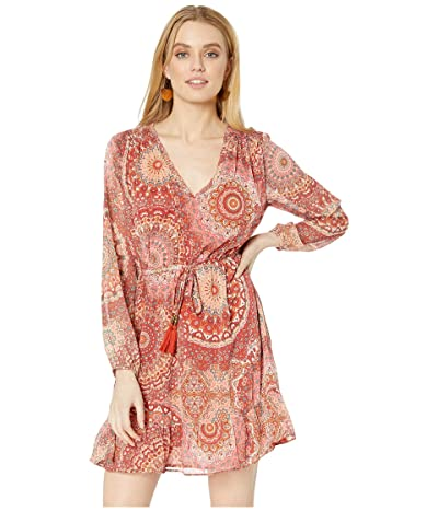 Miss Me Paisley Print Long Sleeve Dress (Cherry Red) Women