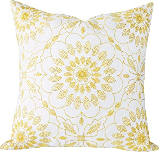 SLOW COW Cotton Linen Embroidery Pillow Cover Pillowcase Decorative Square Throw Pillow Cover for Couch Sofa 18 x 18 Inches Yellow Gold