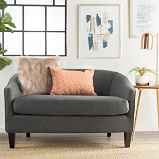 Isolde Modern Petite Loveseat (Fabric or Leather) (Dark Grey Fabric)