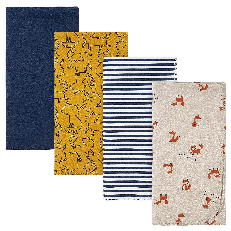 Gerber Baby 4-Pack Flannel Receiving Blanket, Blue Fox, One Size