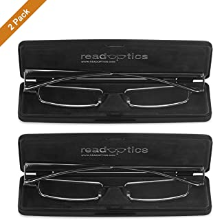 Read Optics x2-PACK de Gafas Hombre/Mujer de Lectura Vista: Ultra Compactas | Incluye Estuche Rígido | Graduadas +1.00 Dioptrías |Color: Gris Plomo