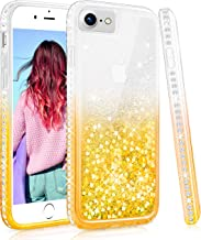 Maxdara Case for iPhone 6 6s 7 8 Glitter Liquid Girls Women Case with Screen Protector Gradient Quicksand Bling Shiny Rhinestone Diamond Sparkle Pretty Cover for 6 6s 7 8 4.7 inches (Gold)