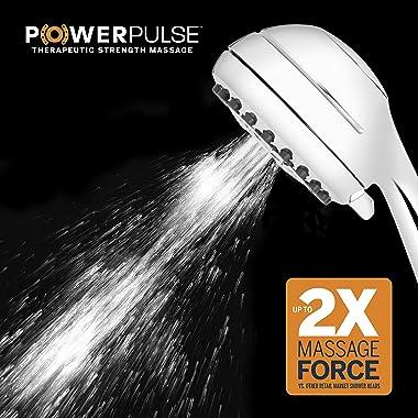 Waterpik High Pressure Powerpulse Massage Hand Held, 2.5 GPM, Chrome Detachable Shower Head with 7 Spray Settings and 5'