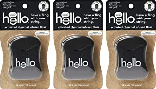 Hello Oral Care Activated Charcoal Infused Floss, Vegan Wax, Natural Peppermint flavor, 3Count