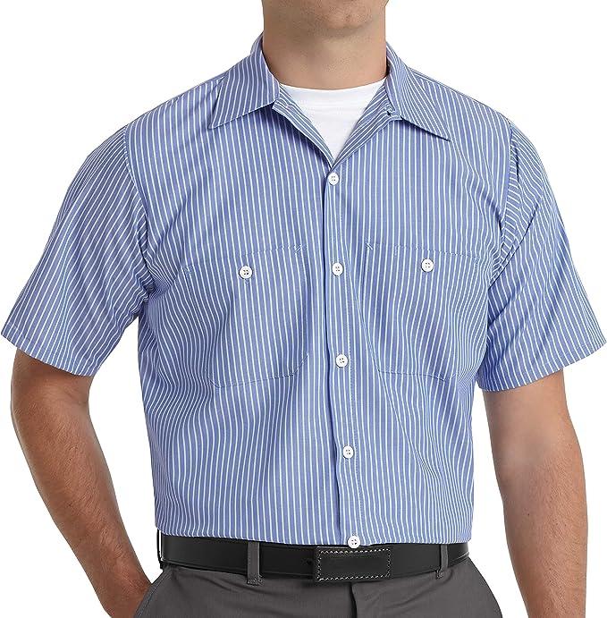 Men's Vintage Workwear Inspired Clothing Red Kap Mens Industrial Stripe Work Shirt Regular Fit Short Sleeve  AT vintagedancer.com