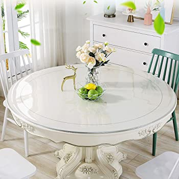 Amazon Com Bubm Round 48 Clear Multifunctional Desk Pad Table Mat 48 Round Table Cover Water Resistant Non Slip Vinyl Table Protector Circle Table Pad For Coffee Glass Dining Room Table Home Kitchen