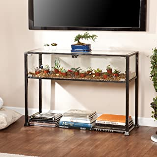 Terrarium Display Media Table - Glass Display for Plants - Black and Silver Finish