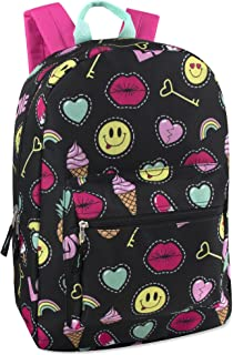 Girls' All Over Printed Backpack 17 Inch With Padded Straps (Emoji)