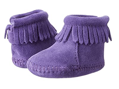 Minnetonka Kids Suede Back Flap Bootie (Infant/Toddler) (Purple Suede) Kids Shoes